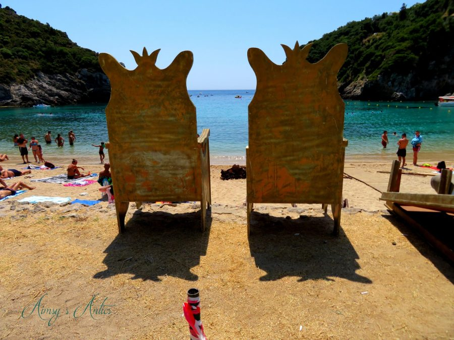 Thrown chairs on Paleokastritsa Beach