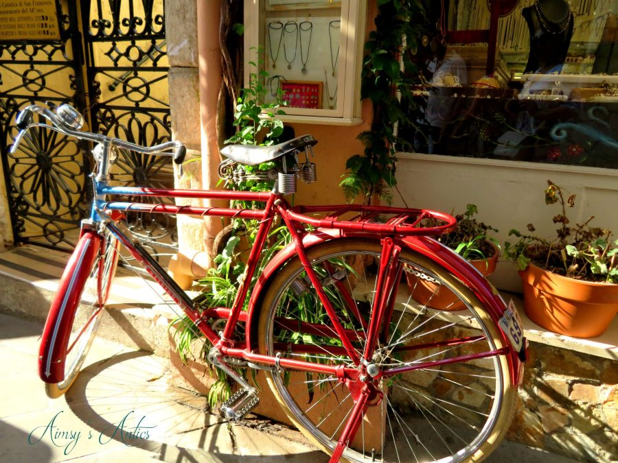 Red bicycle in Corfu Town