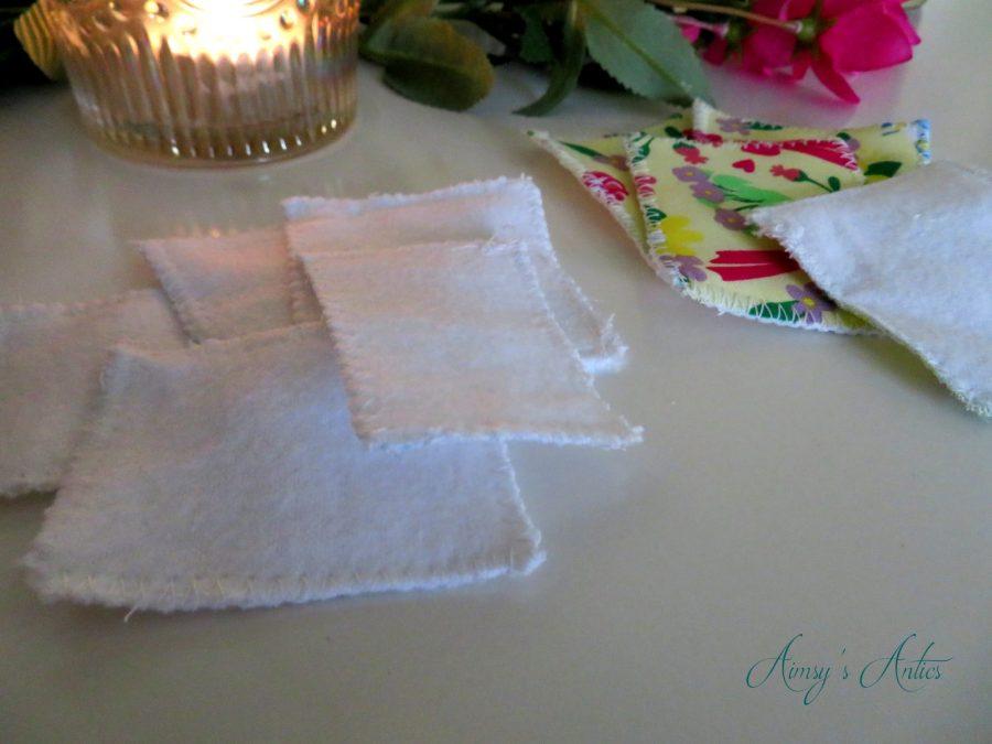 DIY cotton pads laid out