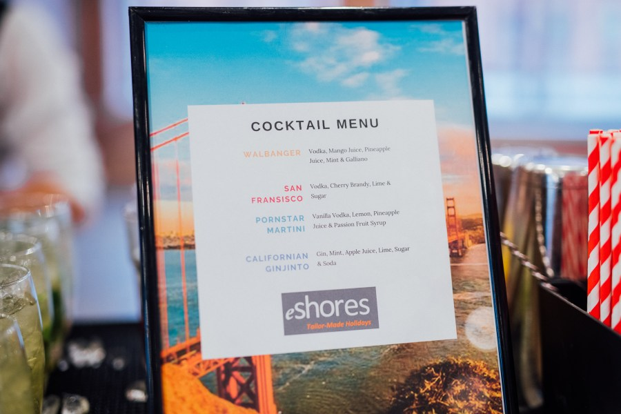 Cocktail menu from the eShores Travel Event