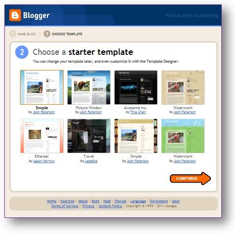 memilih sebuah tema / template untuk blog yang baru