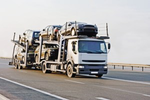 """car carrier truck deliver new auto batch to dealer of my """"trucks"""" series"""