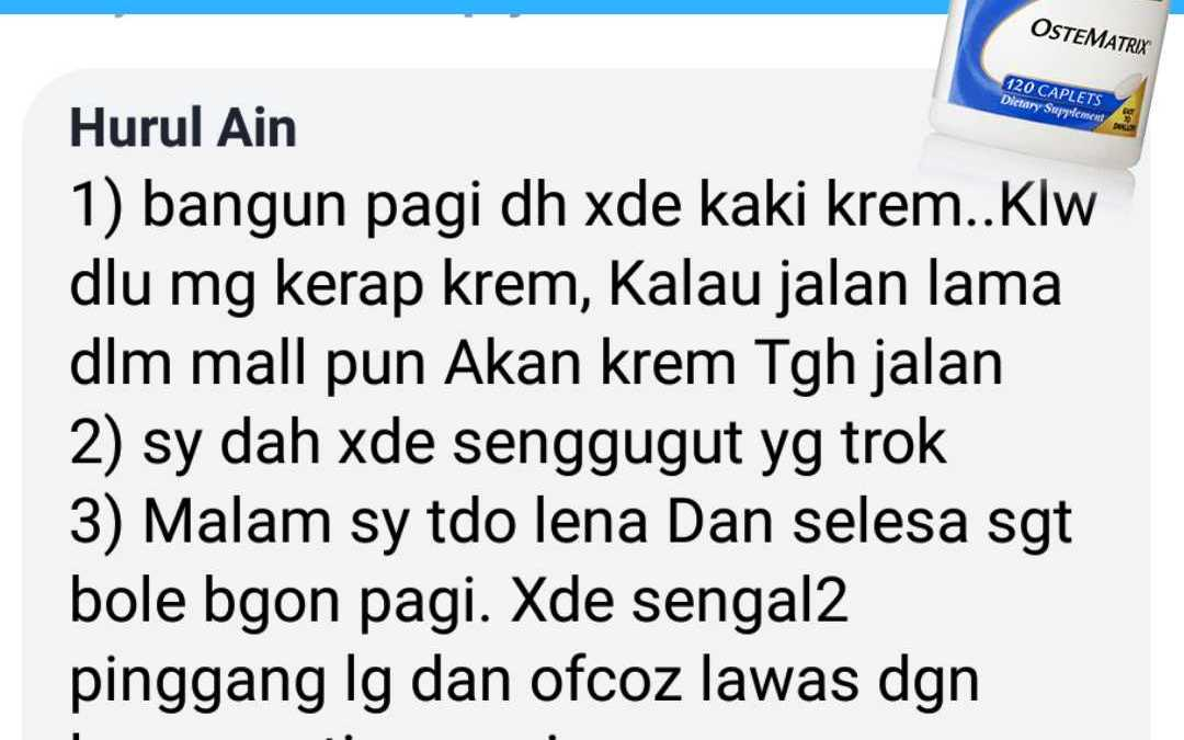 Testimoni Ostematrix Shaklee Part 2