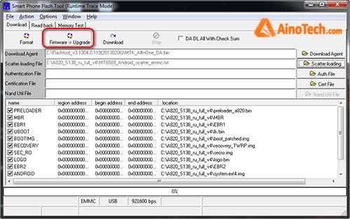 SP Flash Tool FirmWare-> Upgrade