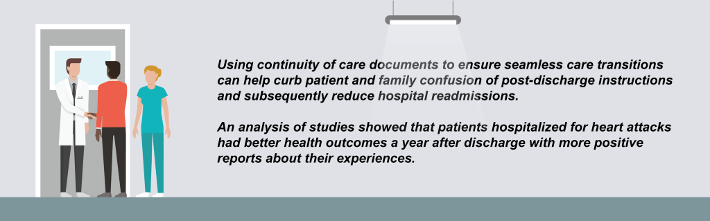 Using continuity of care documents to ensure seamless care transitions can help curb patient and family confusion of post-discharge instructions and subsequently reduce hospital readmissions.