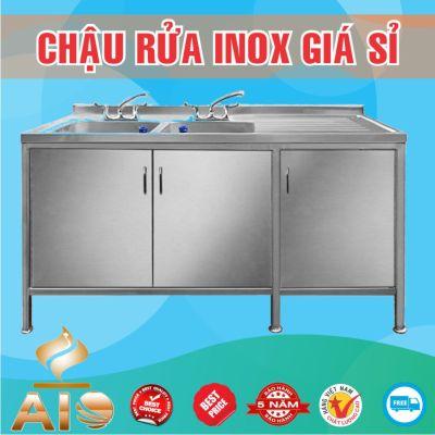 chau rua inox doi co tu ban cho phai 400x400 - Xưởng sản xuất chậu inox