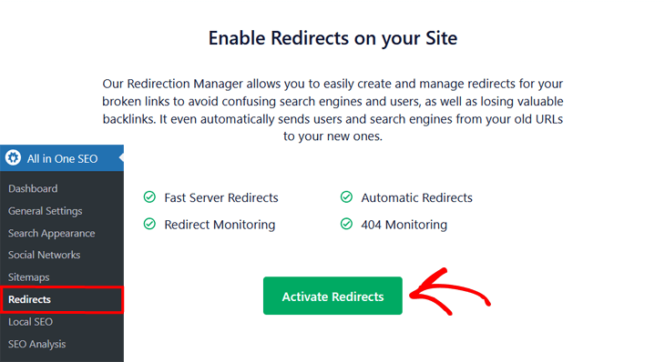 enable redirects in all in one seo 1