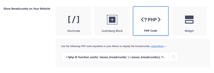 adding breadcrumbs using php code in aioseo