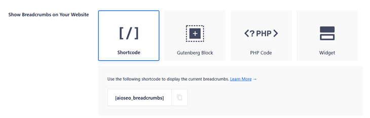 adding breadcrumbs using shortcode in aioseo