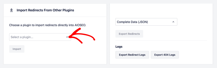 import redirects from other plugins in aioseo