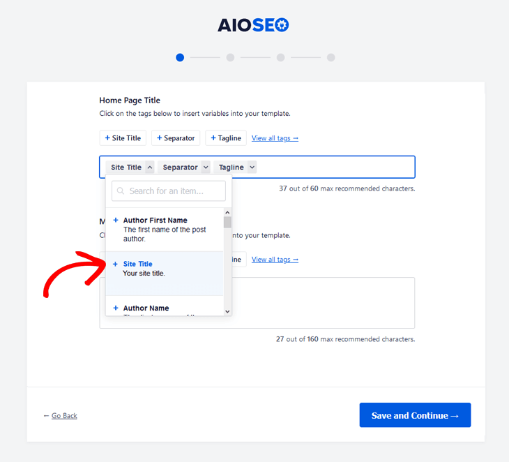 setup home page title and description in aioseo 1