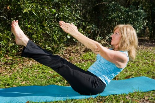 Woman in Pilates pose