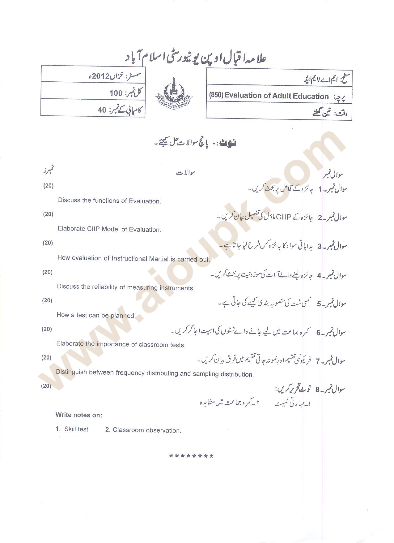 Evaluation Of Adult Education Code 850 M Ed Aiou Old Papers