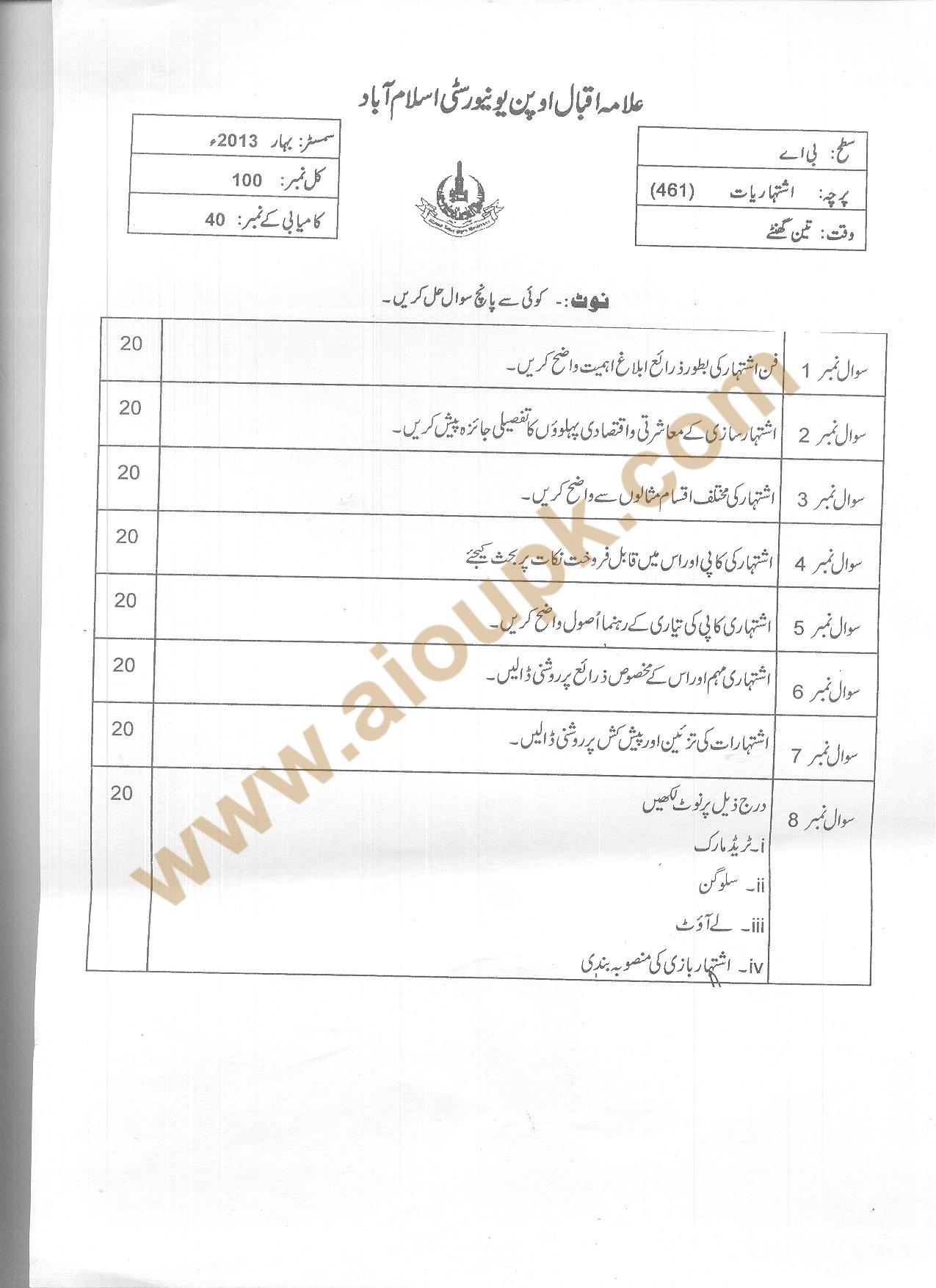 Advertising Code No 461 Ba Aiou Old Papers Spring
