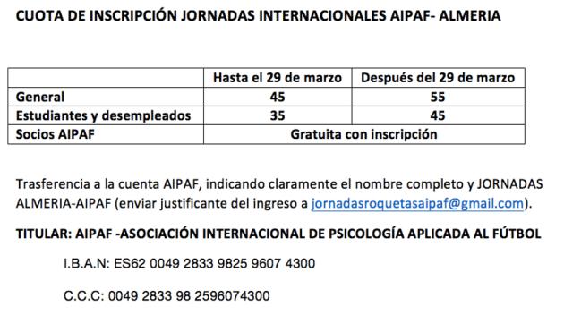 Inscripcion Jornadas Aipaf