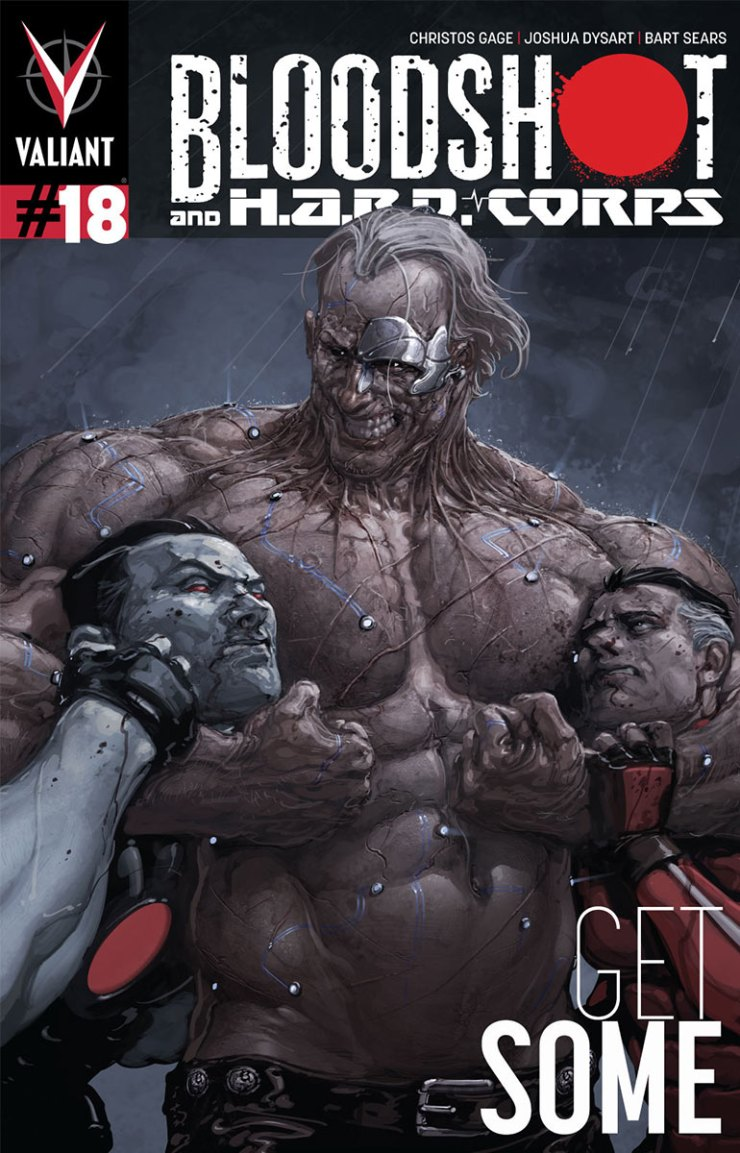 """Just as I did for Shadowman #13 last month, today I'm going to be reviewing another new jump-on point for Valiant Comics, this time with Bloodshot and H.A.R.D. Corps #18 by writers Christos Gage and Joshua Dysart, artist Bart Sears, and additional """"flashback art"""" by ChrisCross and Christopher Olazaba. Once again, I'm going in almost completely cold. This comic does boast what must be one of the most metal titles in the history of comics, though, so break out your favorite 80s Metallica album (definitely nothing from the 90s when they went soft, but 2008's Death Magnetic is acceptable), and let's find out: is it good?"""