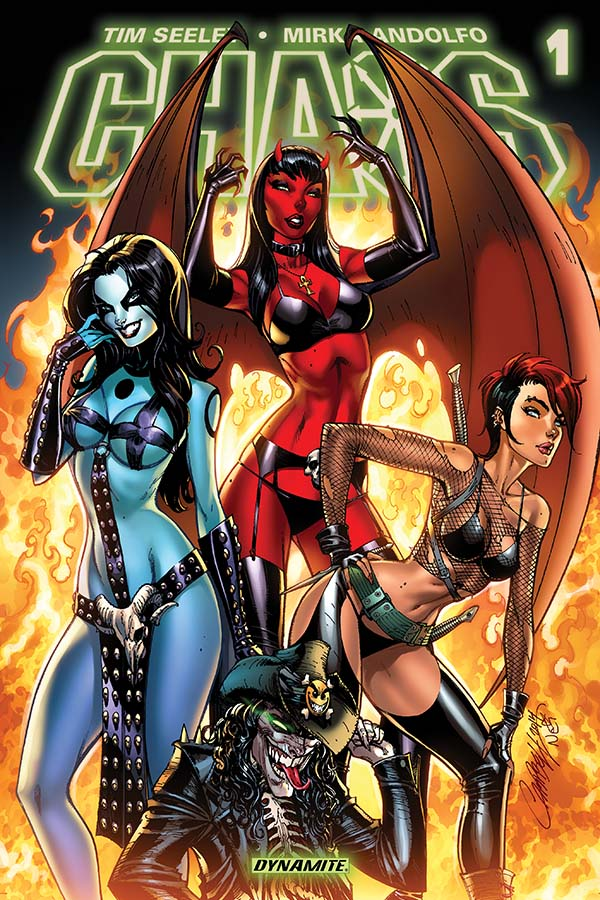 Boobs, ass, boobsass, and assboobs; it's what sells 85% of the comics on the shelves. The majority of J. Scott Campbell's work just so happens to fall under this category, at least when it comes to his covers -- which he contributed here.  So let's answer the question:  Dynamite's new buxom-babe filled series Chaos, is it good?