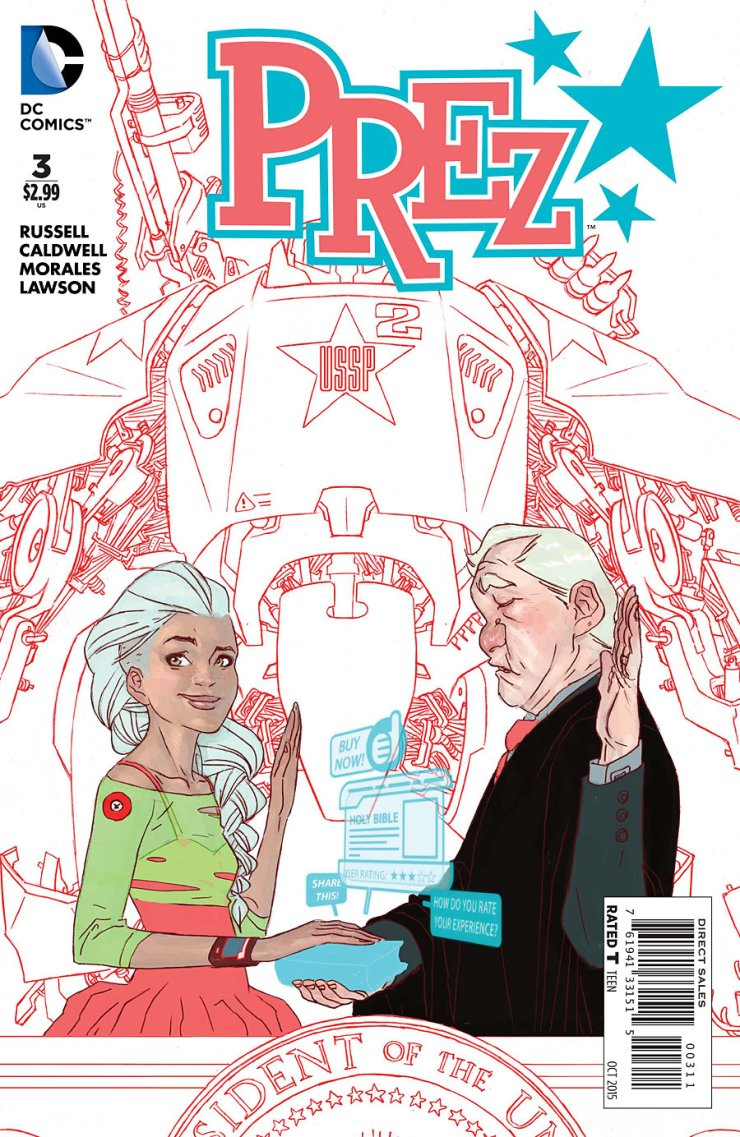 In just the past two months, Prez has rocketed to the top of my favorite comics of the year list. Everything is just so amusing and enjoyable to read, with a likeable main character and great sense of humor. With the third issue out, let's see if the mini-series can keep this train rolling! Is it good?