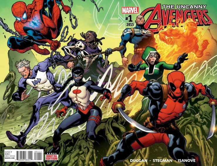 New York, NY—September 17th, 2015 —This October, it's truly a team of Earth's Mightiest Heroes unlike any you've seen before. Humans! Mutants! Inhumans! Deadpool! Yeah, we're not kidding! Today, Marvel is pleased to present your first look at UNCANNY AVENGERS #1 – the blockbuster new series from Gerry Duggan and Ryan Stegman! It's an All-New, All-Different Marvel Universe and Steve Rogers has assembled a new squad for the same purpose – unity.  Joining the man once called Captain America are Rogue, Spider-Man, the Human Torch, Doctor Voodoo, Deadpool, Quicksilver and newcomer Synapse. United under one banner, these seven heroes will stand shoulder to shoulder in the public eye – a shining beacon of cooperation between human, inhuman and mutant alike. But with a dangerous new villain on the prowl, the bonds of this untested squad will stretched. Are cracks in the unity squad already beginning to form? Find out this October in the explosive debut of UNCANNY AVENGERS #1!