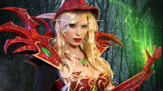 Not sure if this is just a cosplay of World of Warcraft lore icon Valeera, the deadly Blood Elf assassin that represents the Rogue class in Hearthstone:  Heroes of Warcraft... or the real thing?