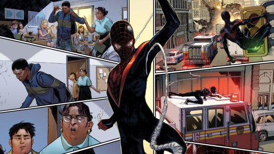 Welcome to the Marvel Universe Miles Morales, hope you survive the experience! That's right, he's here – and the Marvel Universe will never be the same again. Today, Marvel proudly presents your look inside SPIDER-MAN #1 – the highly anticipated new series from blockbuster Miles Morales co-creators Brian Michael Bendis and Sara Pichelli! Sure, he's been doing the super hero thing for a while now, but following the events of Secret Wars, Miles finds himself a full-fledged member of the Marvel  U. Swinging next to Iron Man, Captain America and Thor as a member of the Avengers and patrolling the Big Apple's rooftops as NYC's own Spider-Man! But it's not all fun and games. A lot has transpired in the eight months since Secret Wars and an entire new universe awaits him – friend and foe alike. Plus, his grades are in the toilet. The adventure begins this February in the can't-miss SPIDER-MAN #1!