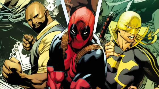 What do you get when you take a Merc With a Mouth, two Heroes for Hire and a Man Without Fear and mash 'em together?  Why, the massively oversized DEADPOOL #13 of course!  This June, this quartet of heroes collide in the first-ever 4-part crossover in one issue! We're not joking – this issue contains two full issues of Deadpool, one issue of Power Man and Iron Fist and one issue of Daredevil! Writers Gerry Duggan, David Walker and Charles Soule join forces with artists Jacopo Camagni, Guillermo Sanna, Elmo Bondoc and Paco Diaz to bring you one for the history books! When Deadpool takes a gig protecting a banker who betrayed his nefarious cartel partners, they seek the help of ADA Matt Murdock, who calls in the assistance (and fists) of Luke Cage and Danny Rand! Things are going to get ugly. Get ready for a mega-violent, street-level, gut-busting, face-punching, kung-fuing, ninjitsuing crime story you won't want to miss! It all goes down this June when DEADPOOL #13 explodes into comic shops everywhere!