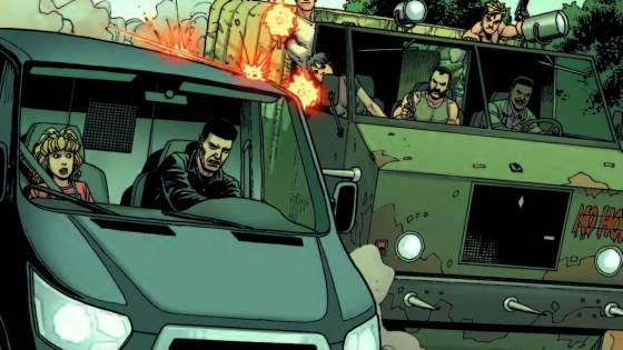 MADNESS AHEAD, TROUBLE BEHIND! The PUNISHER tracks the psychopathic FACE and his madness-inducing drug EMC to a derelict insane asylum! But Punisher's got his own tail: DEA agents, and Face…DRIVING A TANK. The little girl in the Punisher's passenger seat might be safer on the side of the road!