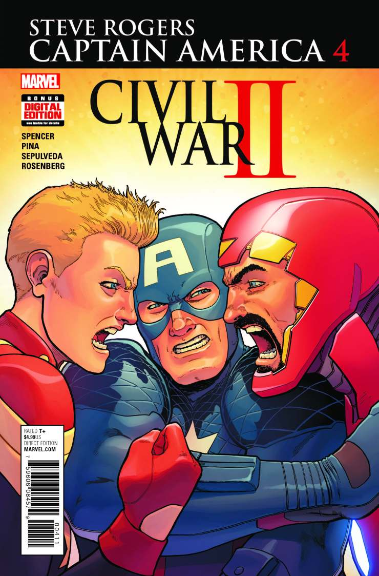People are outraged. They want change. They are sickened by the events going on and it has nothing to do with Donald Trump or Hillary Clinton. No, they are disgusted with what Marvel has done to Captain America. The thing they fail to recognize though is that writer Nick Spencer is writing a story of the Red Skull using a cosmic cube to change Cap's reality. He hasn't changed Cap...and this issue confirms that. Is it good?