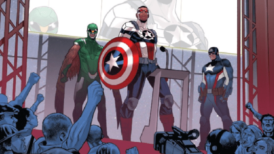"""TAKE BACK THE SHIELD"" STARTS NOW! The world has received an ULTIMATUM: Peace in our time...or face the fury of The Flag-Smasher! Amid cries of ""#TakeBacktheShield"", Sam Wilson stands against a rising tide. But he is not alone! Guest-starring in this issue – Steve Rogers: Captain America! Only, Steve has a secret…"
