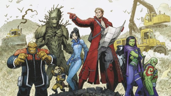 """This December, the galaxy's greatest adventurers are stuck…on Earth. Today, Marvel is pleased to present your first look at GUARDIANS OF THE GALAXY #15 – the first chapter of """"GROUNDED"""" and the kickoff to Brian Michael Bendis & Valerio Schiti's epic final arc! And the Guardians of the Galaxy's ship isn't the only thing that's been destroyed. Their ranks shattered by the events of Civil War II, the Guardians will go their separate ways. Now, the ever-lovin' blue-eyed Thing returns to the city he once called home. Only, a lot has changed since his time in space. Meanwhile the rest of the Guardians are faced with the hard task of finding a way off this mudball for good! Be there when """"GROUNDED"""" kicks off in GUARDIANS OF THE GALAXY #15 – coming to comic shops and digital devices on December 7th!"""