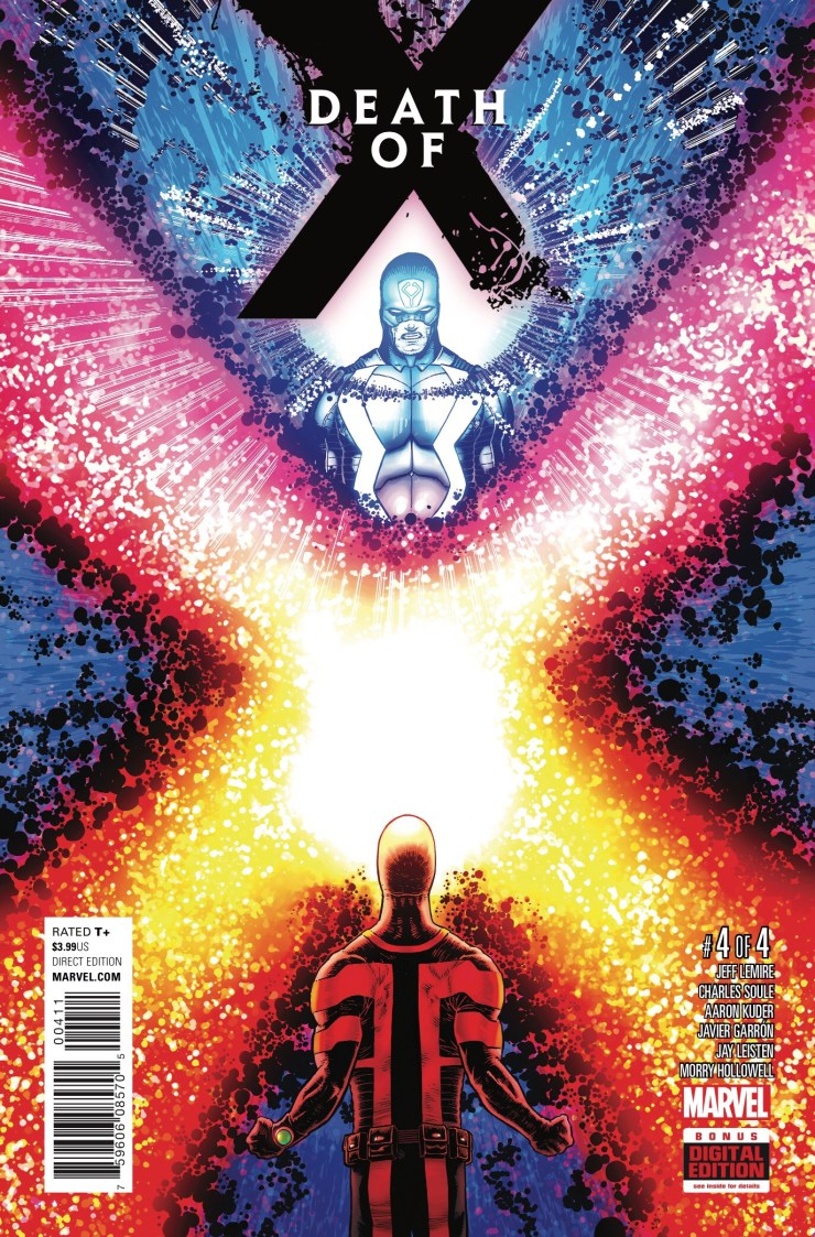 The long-awaited conclusion to Death of X is finally here, and if you're a die-hard Cyclops fan like myself, you're in for an emotional ride. You may feel like you know how this mini-series chronicling the death of Scott Summers ends, but trust me, writers Jeff Lemire and Charles Soule and artists Aaron Kuder and Javier Garron still have some surprises for you.