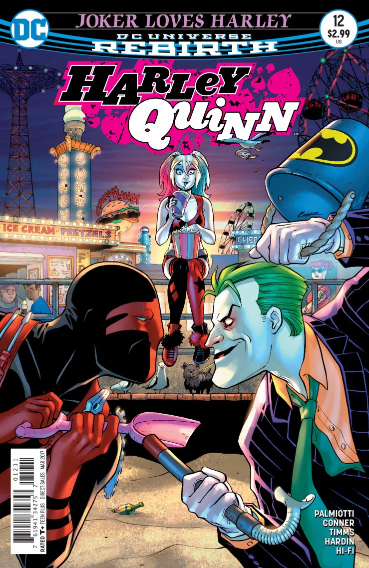 After much teasing, The Joker finally re-appears in Harkey Quinn this week, after a throwdown between he and Red Tool was teased at the end of issue #11. What happens when the Clown Prince of Crime and the Merc with a Mouth Killer...with a facial orifice...collide, all over lil' ole Harley?