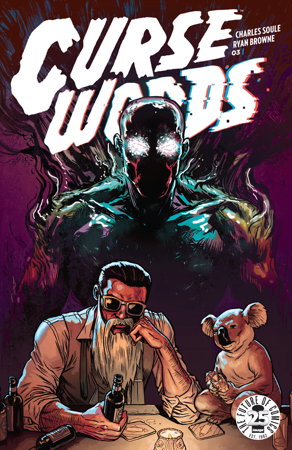 Curse Words #3 is a slower, slightly more introspective issue than the previous two. For the most part, there isn't much action--instead, Charles Soule and Ryan Browne opt to flesh out the world and characters more. The issue succeeds in further establishing the world and setting up some plot threads, while having some laughs along the way.