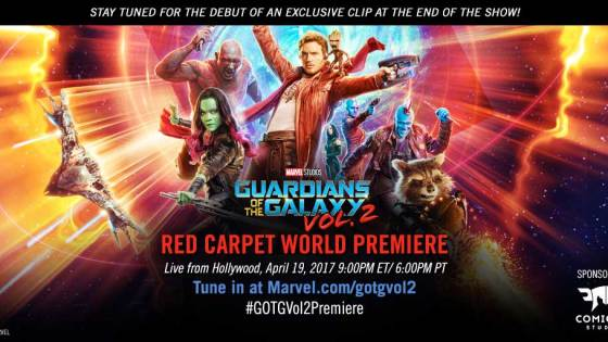 "Marvel proudly invites one and all to experience the World Premiere of Marvel Studios' ""Guardians of the Galaxy Vol. 2,"" LIVE from Hollywood on April 19, 2017 at 6:00 p.m. PT/9:00 p.m. ET.  Watch as your favorite stars arrive at the legendary Dolby Theatre!"