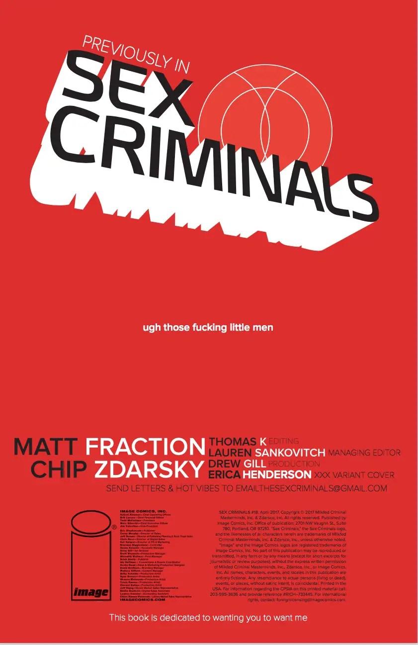 Sex Criminals #18 Review