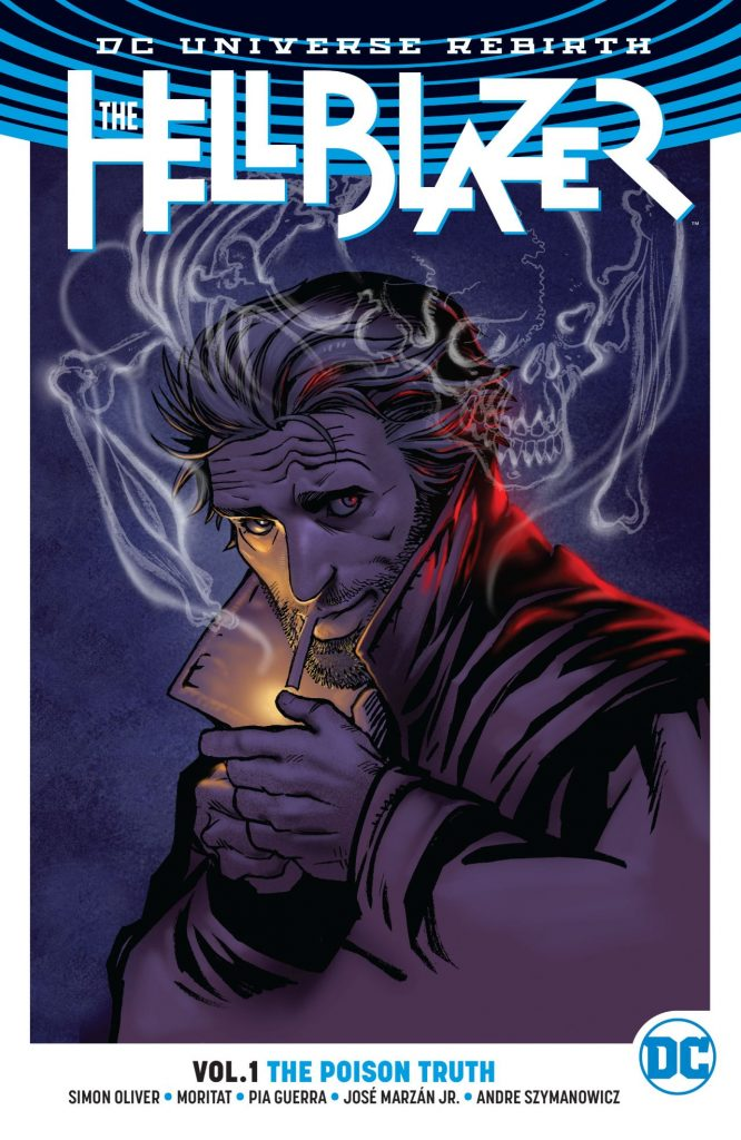 With collaborators Moritat and Pia Guerra, writer Simon Oliver returns John Constantine to his native stomping grounds in London, but his unfocused plotting reveals a struggle to find the balance between the character's classic horror roots and the updated, all-ages version.