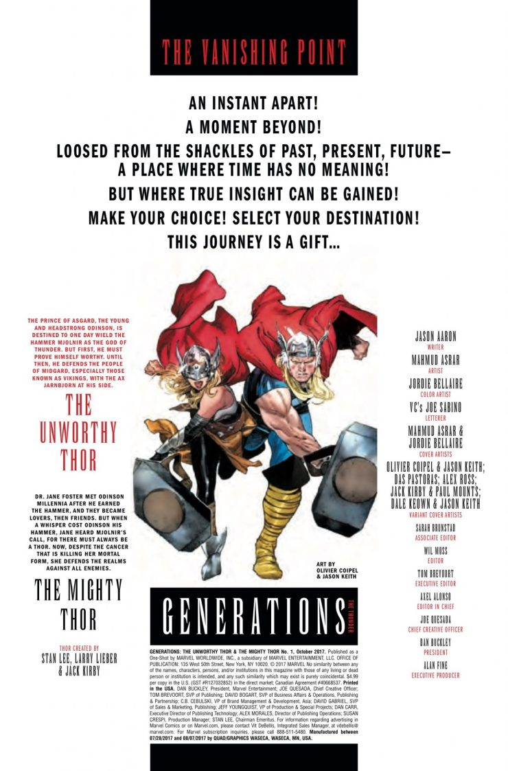 Marvel Preview: Generations: Unworthy Thor & The Mighty Thor #1