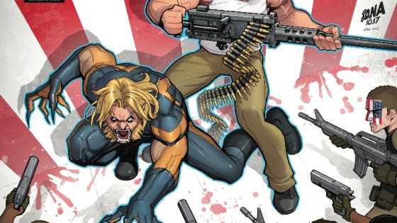 Sabretooth and the original Nuke--surrounded by the Nuke Platoon!