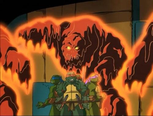 TMNT fighting lava monsters