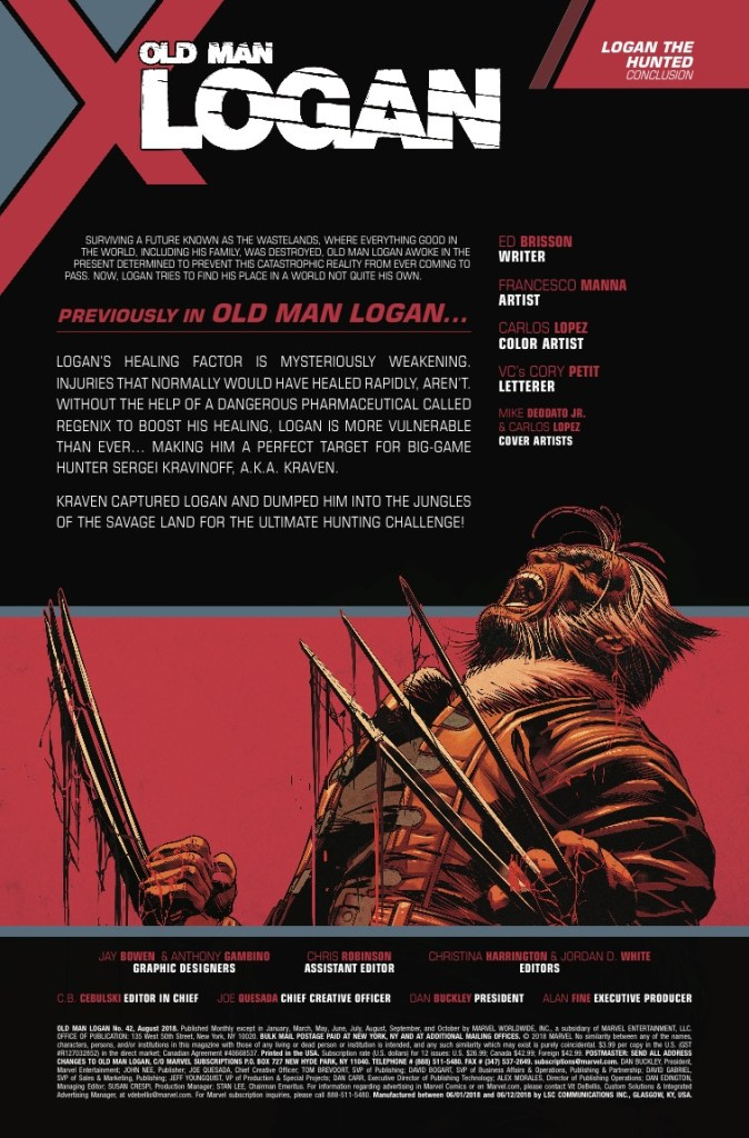 Marvel Preview: Old Man Logan #42
