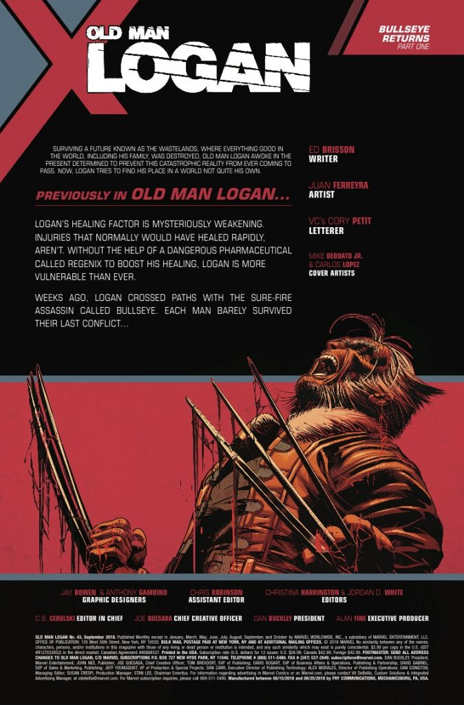 Marvel Preview: Old Man Logan #43