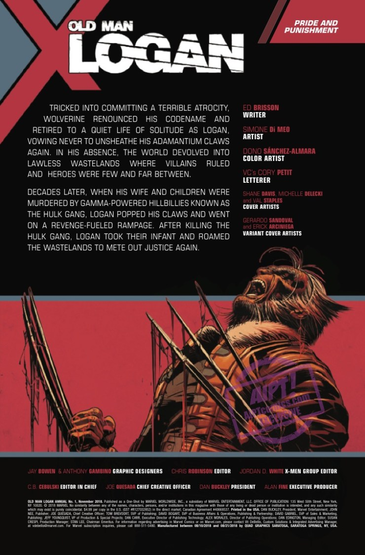 [EXCLUSIVE] Marvel Preview: Old Man Logan Annual #1