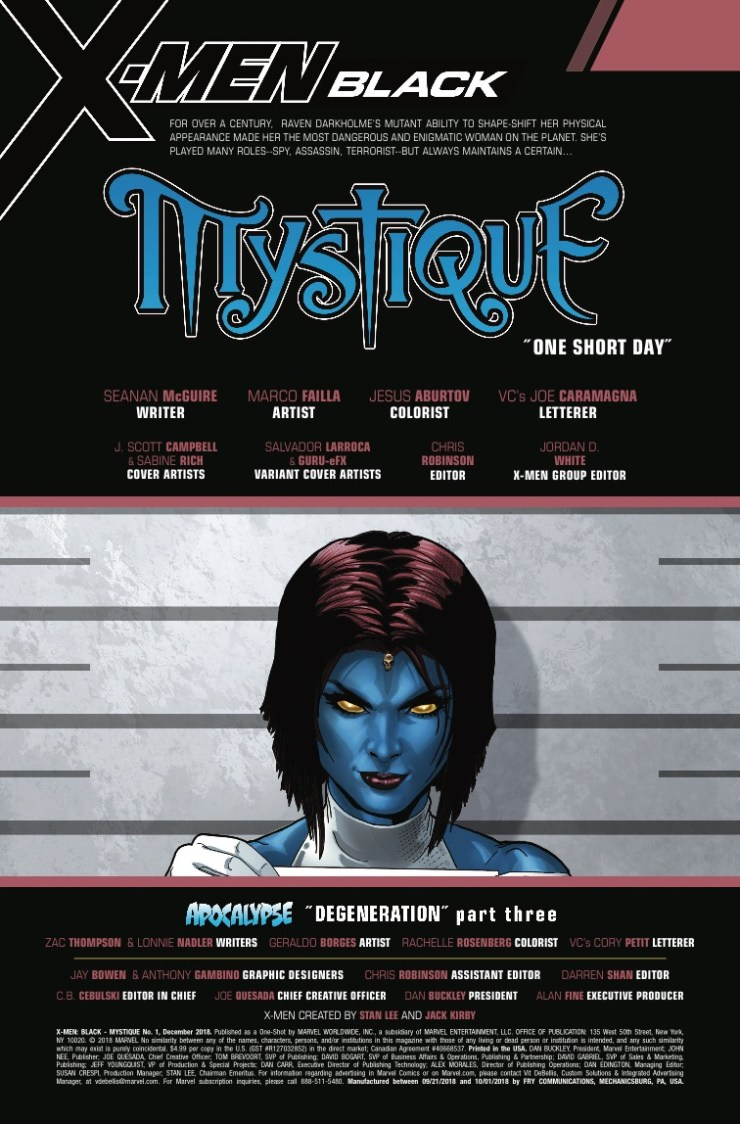 Marvel Preview: X-Men: Black - Mystique #1