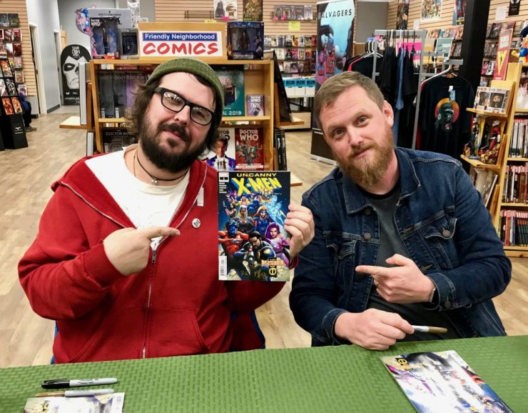 A quick chat with Uncanny X-Men co-writers Ed Brisson and Matthew Rosenberg at Friendly Neighborhood Comics in Bellingham, MA.
