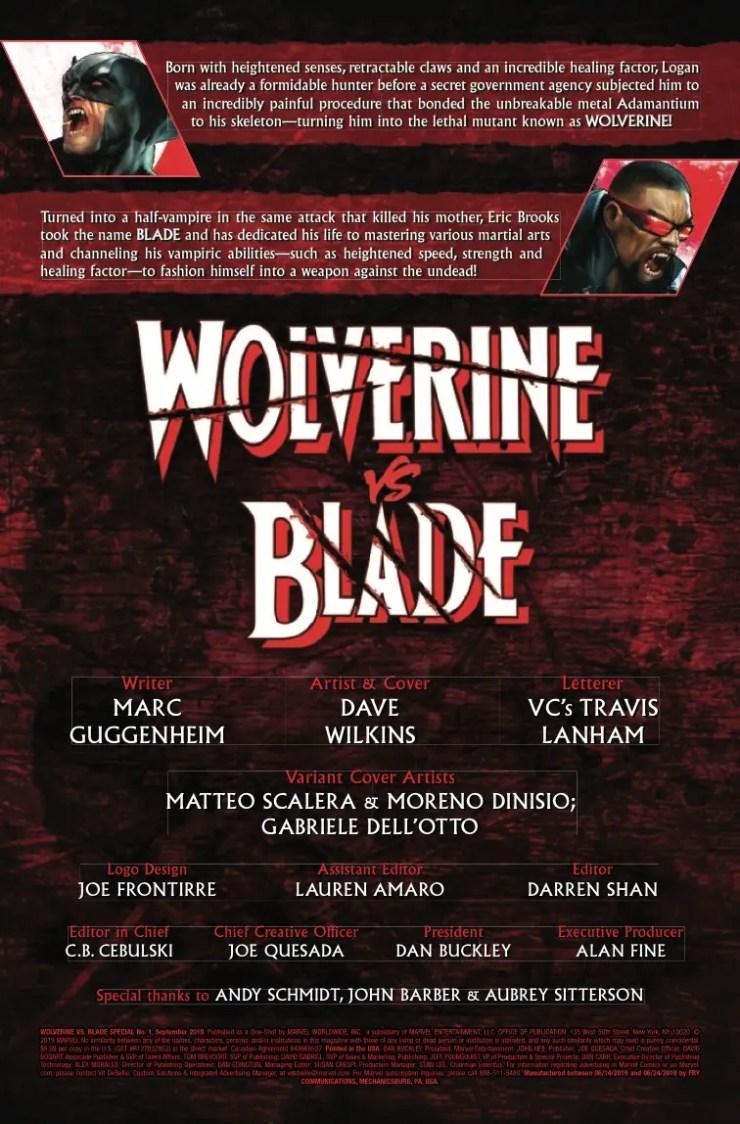 Marvel Preview: Wolverine Vs. Blade Special #1
