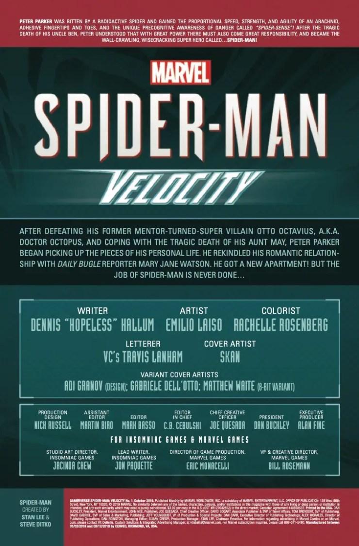 Marvel Preview: Marvel's Spider-Man: Velocity (2019-) #1 (of 5)