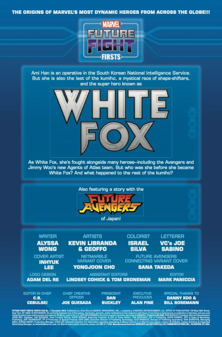 Marvel Preview: Future Fight Firsts: White Fox #1