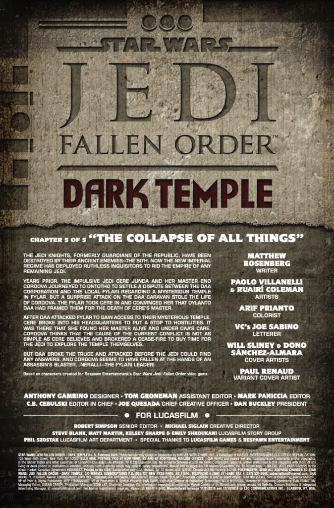 Marvel Preview: Star Wars: Jedi - Fallen Order, Dark Temple #5