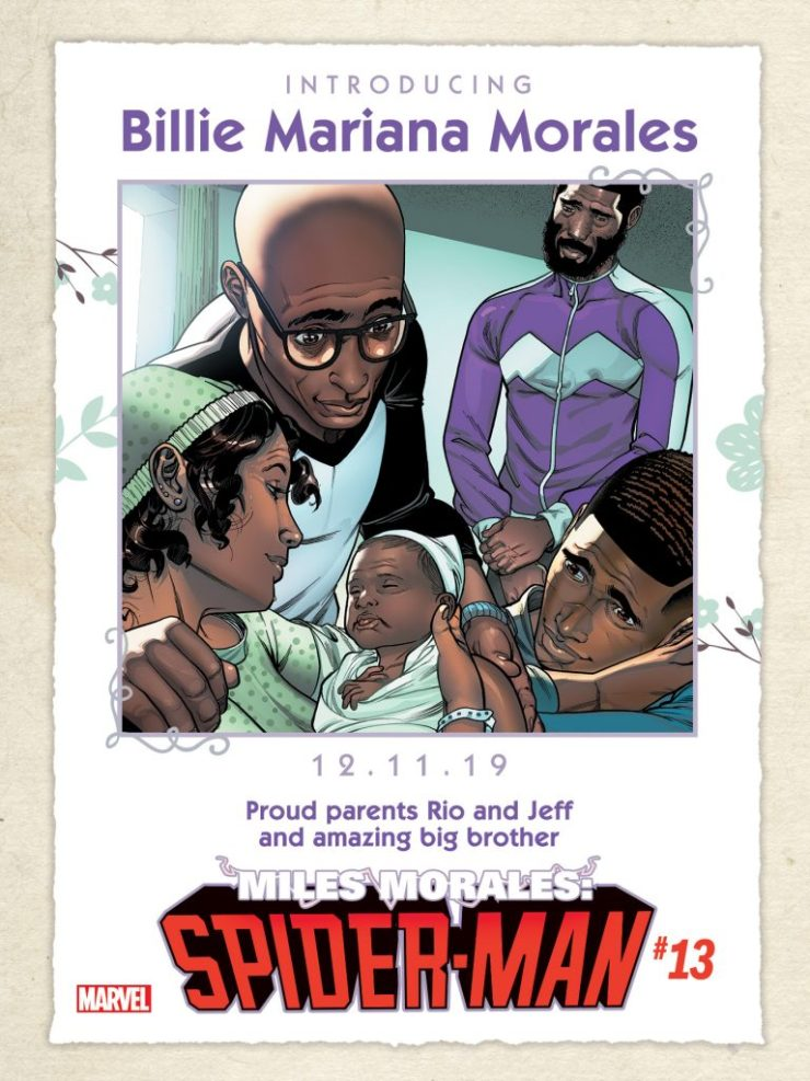 Marvel Comics welcomes new Spider-Man baby sister Billie Mariana Morales to the Marvel Universe!