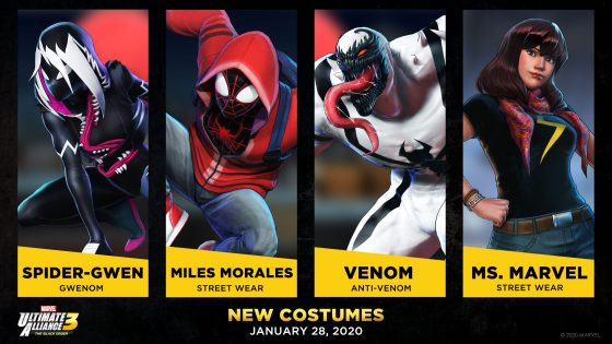 Spider-Gwen, Venom, Miles Morales and Ms. Marvel are the latest characters to get new skins in Marvel Ultimate Alliance 3.